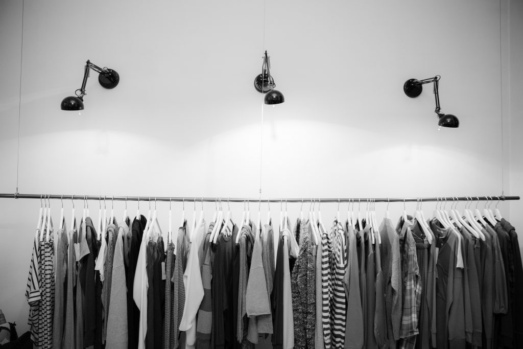 sustainable and ethical menswear: clothing rail